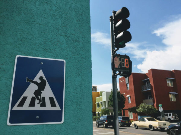 silly walking sign